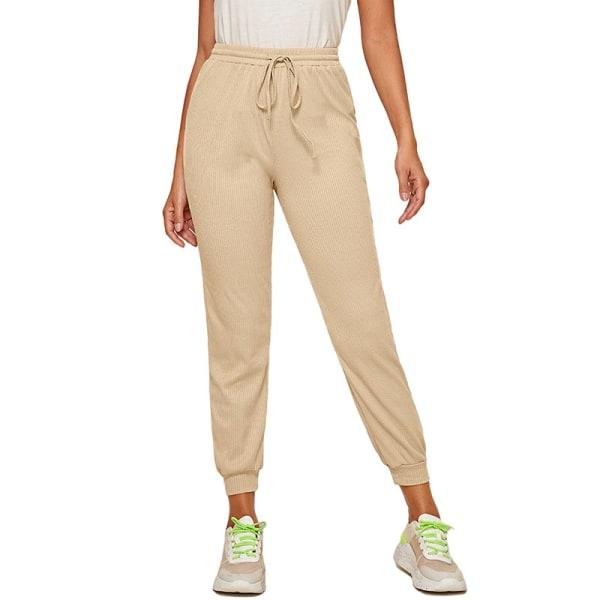 Women'S Casual Yoga Sweatpants Joggers Elastic Waist Loose Apricot,XL