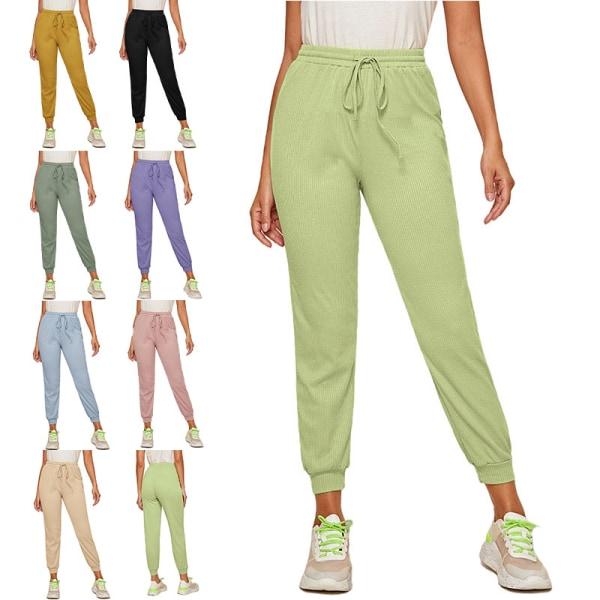Women'S Casual Yoga Sweatpants Joggers Elastic Waist Loose Yellow,M