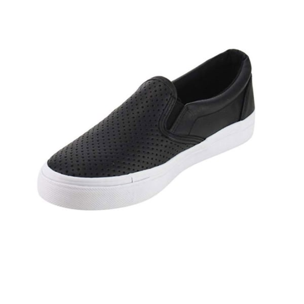 Women's Comfort Loafers Hollow Breathable Flat Casual Shoes Black,37
