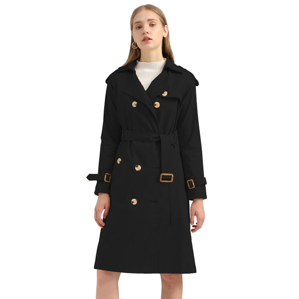 Women's double-breasted coat long trench coat Black,L