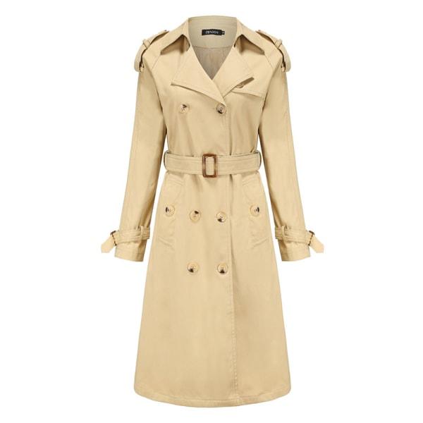 Women's double-breasted coat long trench coat Khaki,M
