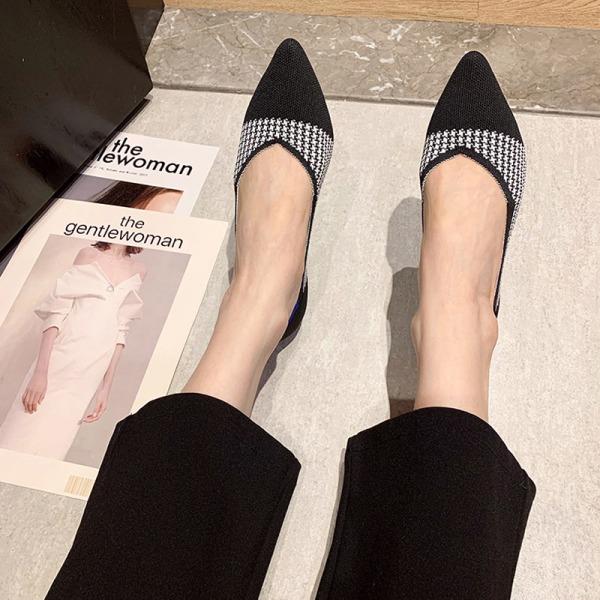 Kvinnors klänning fest skor spetsiga affärsskor sandaler Snow Black,42