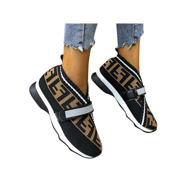 Women's Elastic Sock Sneaker Walking Running Athletic Breathable Black,39