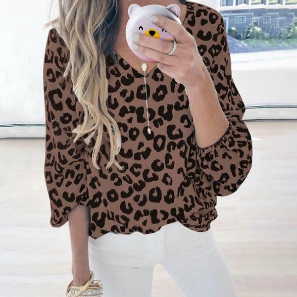 Women's Fashion Lantern Sleeve Leopard Print V-Neck Casual Top Coffee,L