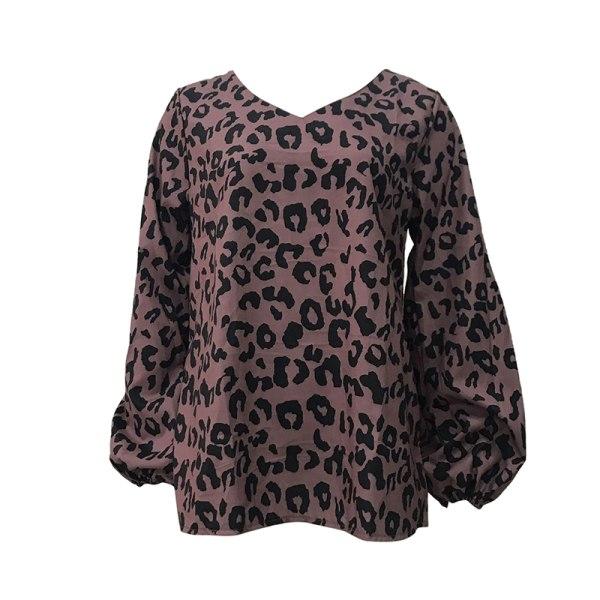 Women's Fashion Lantern Sleeve Leopard Print V-Neck Casual Top Coffee,XL