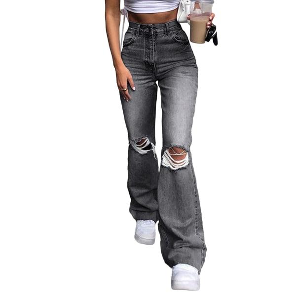 Women's Fashion Long Jeans Zipper Ripped Pants Flared Pants Black Gray,XXL