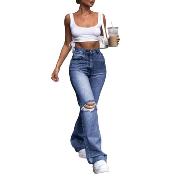 Women's Fashion Long Jeans Zipper Ripped Pants Flared Pants Navy blue,M