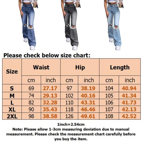 Women's Fashion Long Jeans Zipper Ripped Pants Flared Pants Blue,XXL