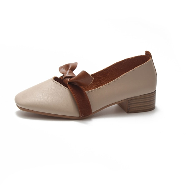 Women's Fashion Outdoor Business Shoes Bowknot Lightweight Shoes Beige,40