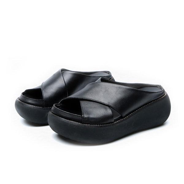 Damkläder Tofflor Crossover Design Sommarsandaler Black,42