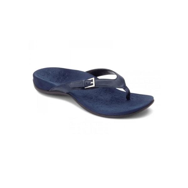 Women's flip flop solid color slippers open back light sandals Navy Blue,40