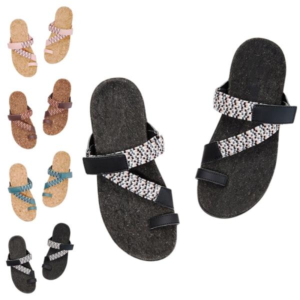 Flip-flops för kvinnor platta sandaler casual mules sandaler med öppen tå brown,41