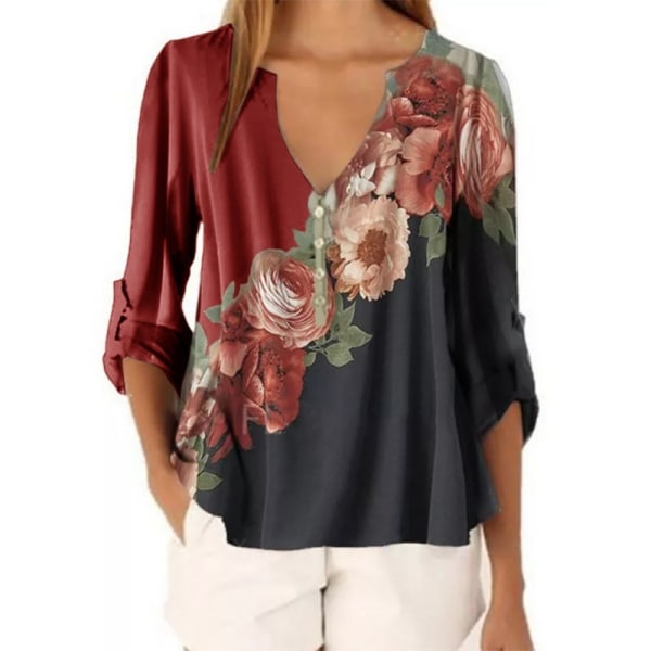 Women's Floral Long Sleeve Top Casual Loose Chiffon T-shirt Red,XXL