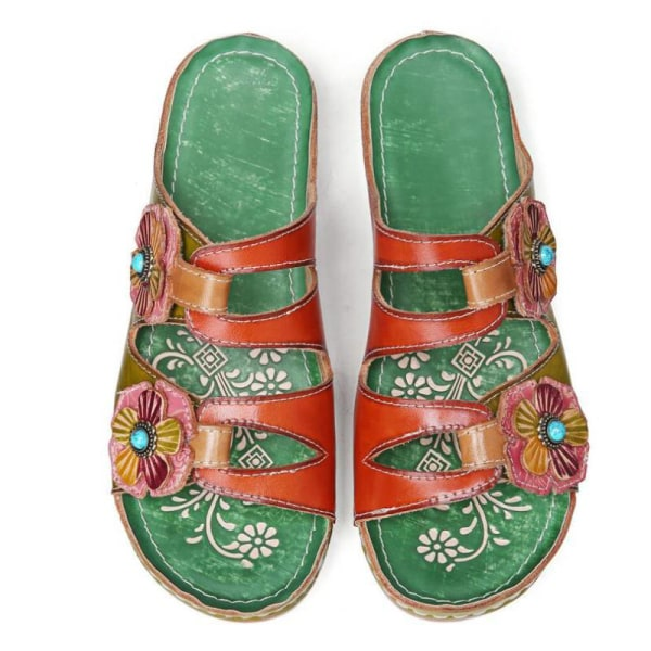 Women's Floral Thick-soled Sandals Open Toe Casual Shoes Green,38