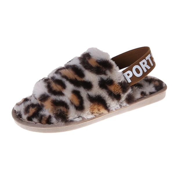 Women's Fluffy Plush Sandals Leopard Print Slippers With Strap Beige,38-39