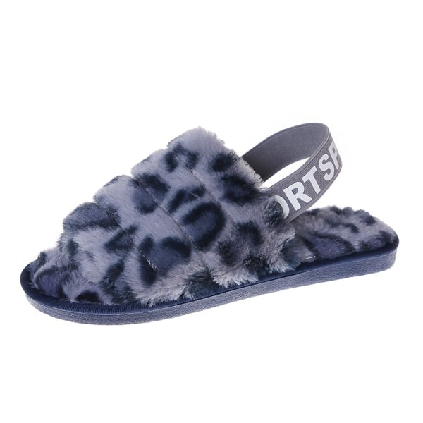 Women's Fluffy Plush Sandals Leopard Print Slippers With Strap Blue,36-37
