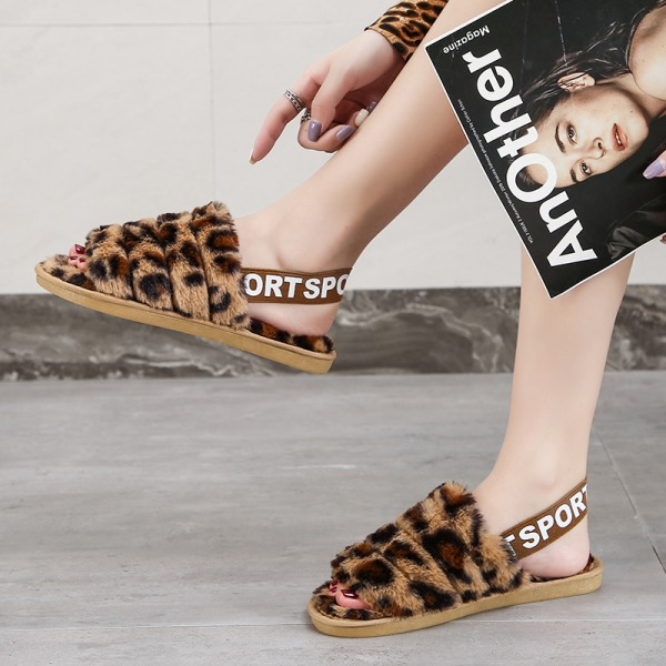 Women's Fluffy Plush Sandals Leopard Print Slippers With Strap Brown,36-37