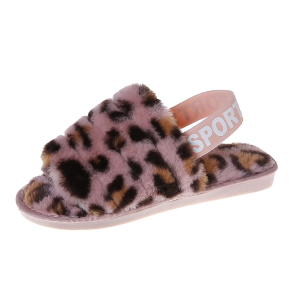 Women's Fluffy Plush Sandals Leopard Print Slippers With Strap Pink,36-37