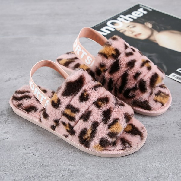 Women's Fluffy Plush Sandals Leopard Print Slippers With Strap Pink,42-43