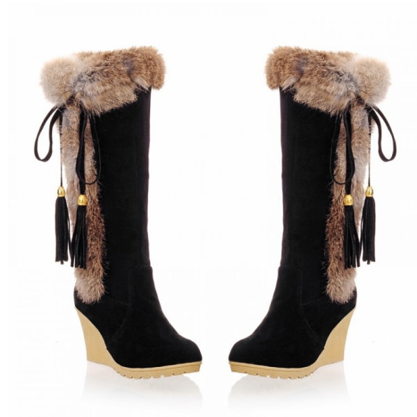 Women's High Heels Boots Solid Color Tassels Booties Round Toe Black,36