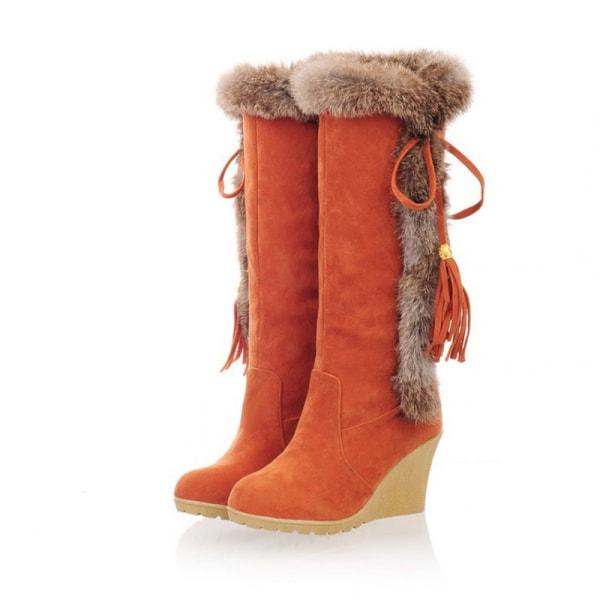 Women's High Heels Boots Solid Color Tassels Booties Round Toe Orange,35