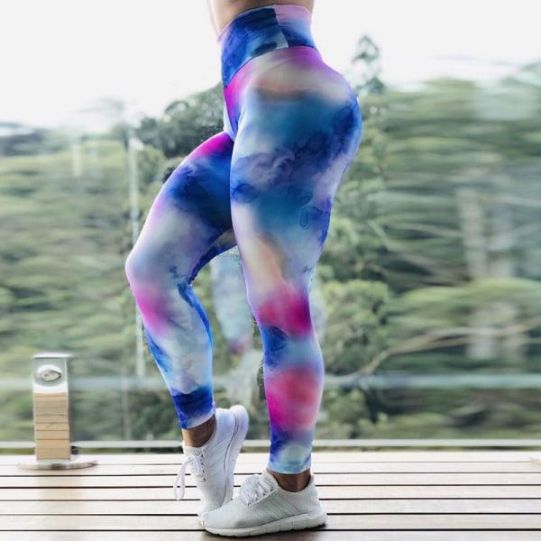 Kvinnors hög midja yoga leggings sportbyxor träningspass Blue,M