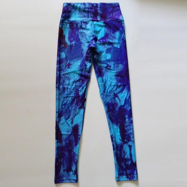 Kvinnors hög midja yoga leggings sportbyxor träningspass Purple,XL