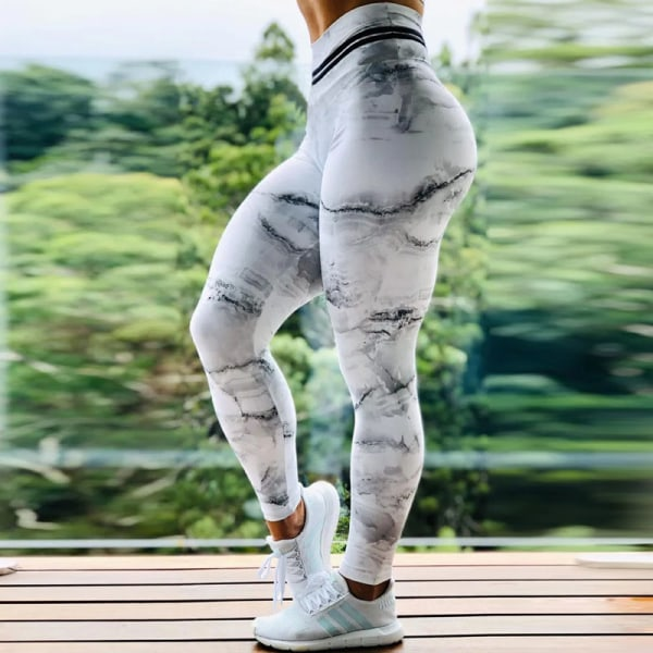 Kvinnors hög midja yoga leggings sportbyxor träningspass White,M