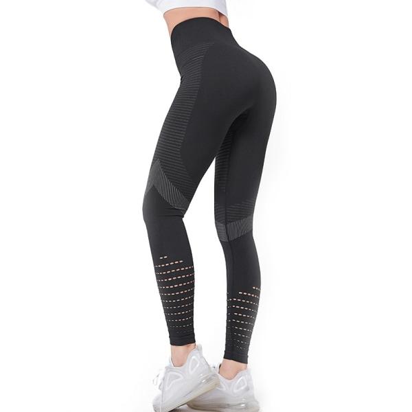 Women's High Waist Yoga Pants Workout Hollow Pants Fitness Pants Black,M