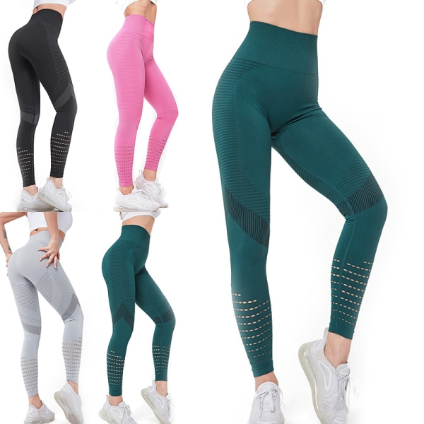 Women's High Waist Yoga Pants Workout Hollow Pants Fitness Pants Green,L