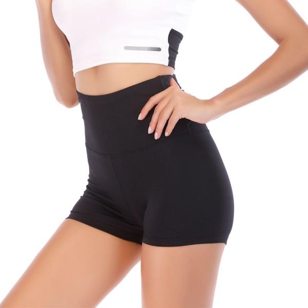 Women'S High Waist Yoga Shorts Sports Training Running Hot Pants Black,L
