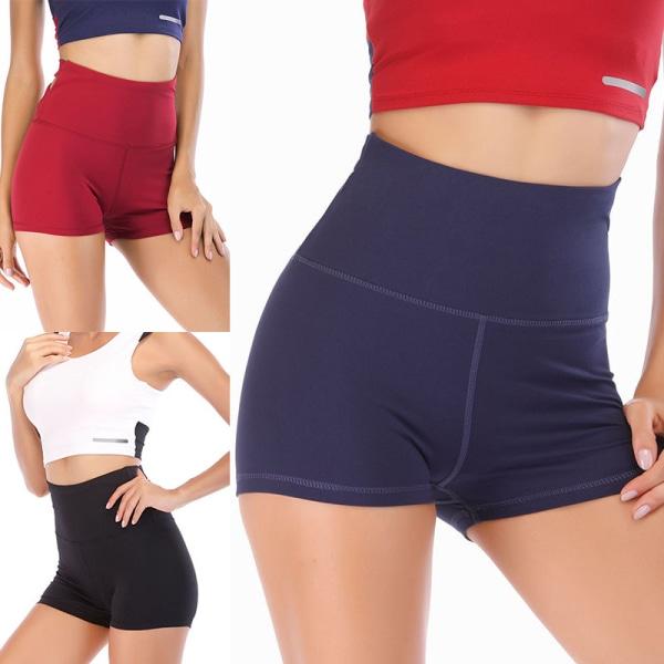 Women'S High Waist Yoga Shorts Sports Training Running Hot Pants Red ,L