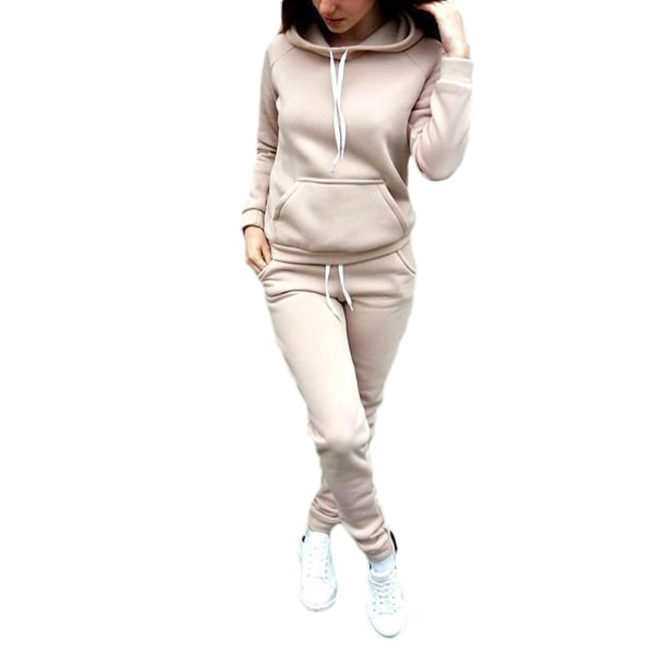 Women's Hooded Suit Long Sleeve Sports Suit Casual Wear khaki,M