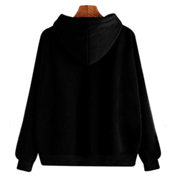 Women's Hoodie Casual Top Hooded Sweatshirt Long Sleeve Top Black,XXL