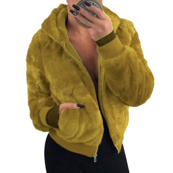 Women's Hoodie Fleece Coat Fluffy Hooded Warm Jacket Ginger,5XL