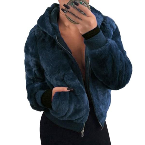 Women's Hoodie Fleece Coat Fluffy Hooded Warm Jacket Royal blue,L