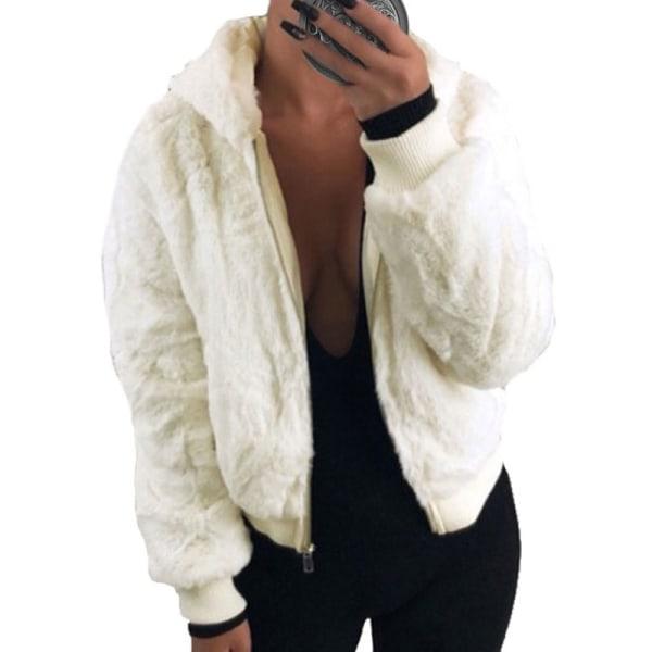 Women's Hoodie Fleece Coat Fluffy Hooded Warm Jacket White,5XL
