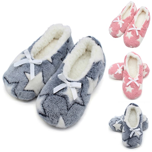 Women's Indoor Floor Home Slippers Stars Printed Warm Flat Shoes Black,39-41