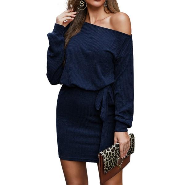 Women's Knitted One Shoulder Long Sleeve Mini Dress Casual Dress Dark blue,M
