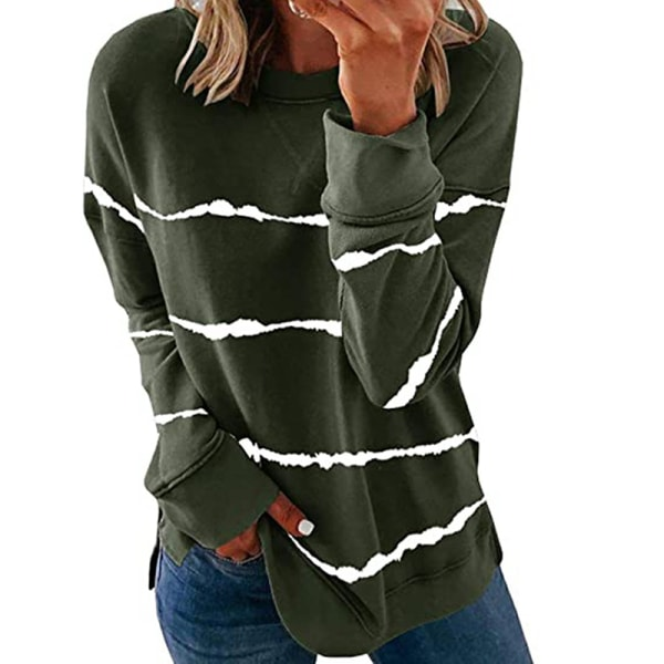 Women's knitted sweater casual long-sleeved pullover sweatshirt ArmyGreen,XXL
