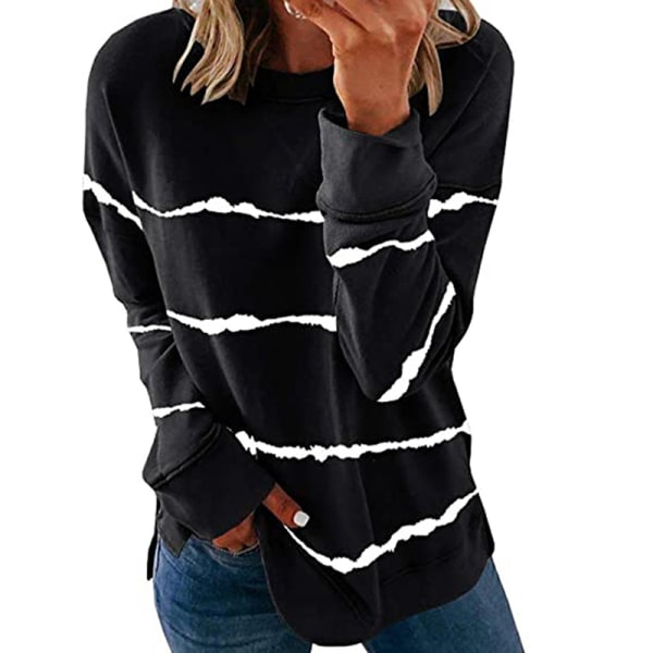 Women's knitted sweater casual long-sleeved pullover sweatshirt Black,L