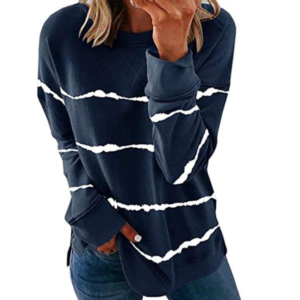 Women's knitted sweater casual long-sleeved pullover sweatshirt Dark blue,4XL