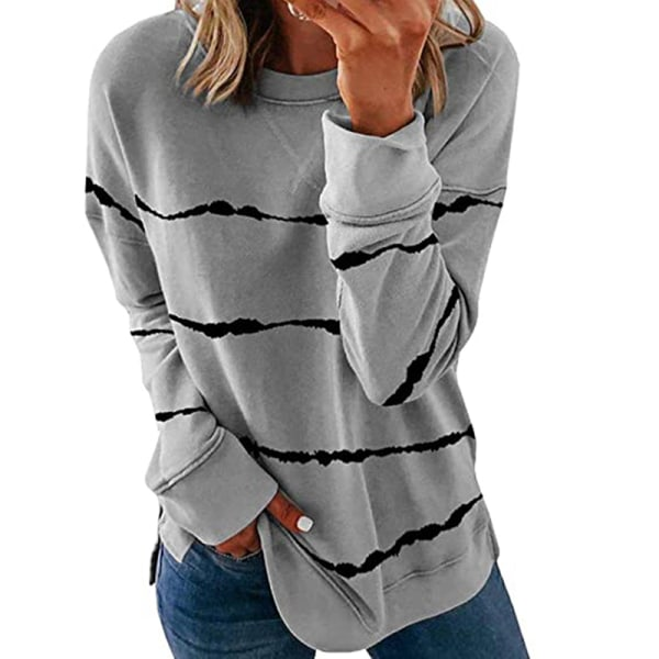 Women's knitted sweater casual long-sleeved pullover sweatshirt Gray,3XL