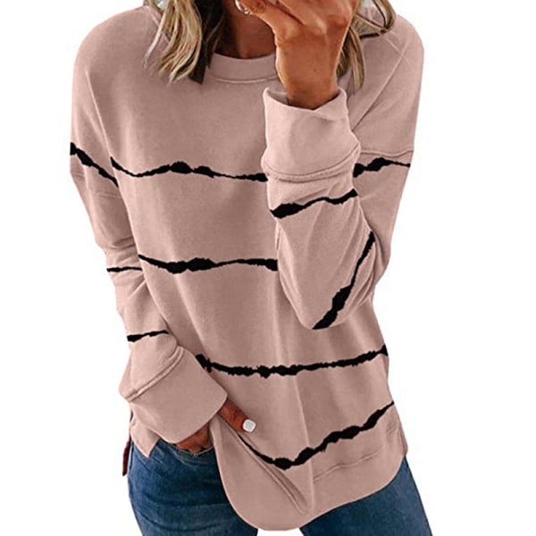 Women's knitted sweater casual long-sleeved pullover sweatshirt Pink,4XL