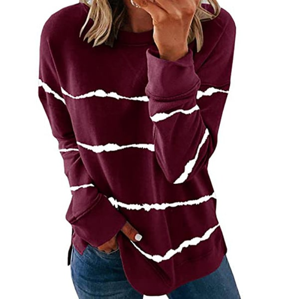 Women's knitted sweater casual long-sleeved pullover sweatshirt Red wine,S