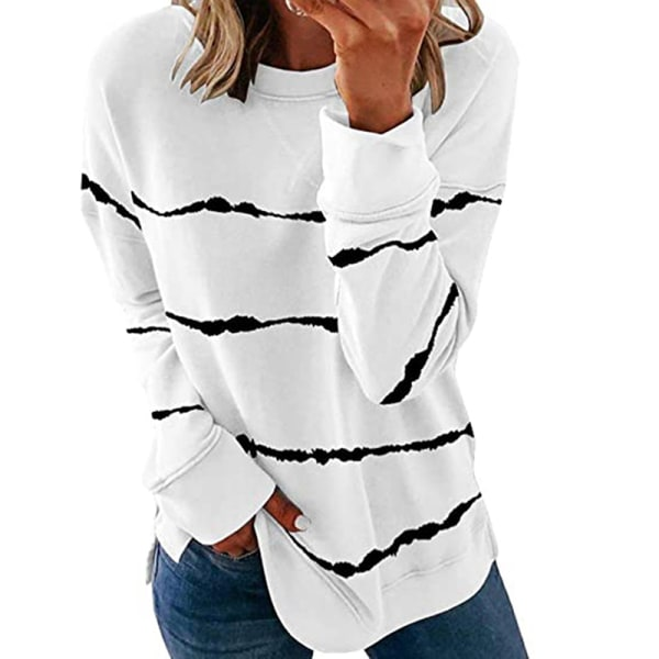 Women's knitted sweater casual long-sleeved pullover sweatshirt White,5XL