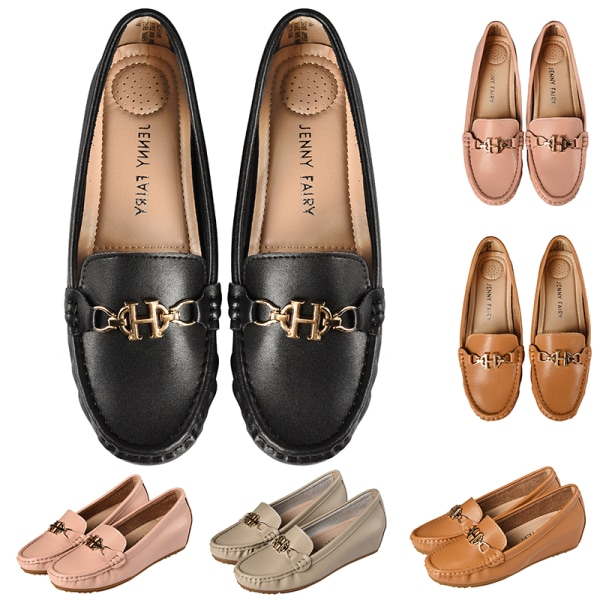Women's Leather Loafers Casual Shoes Slip On Height Increase Brown,36