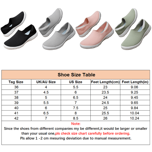 Women's Loafers Casual Sports Sneakers Tennis Elastic Sock Shoes Black,42