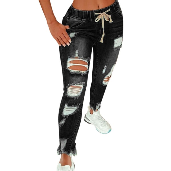 Women's Long Jeans Pocket Drawstring Ripped Pants Casual Pants Black,3XL