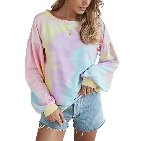 Women's loose tie-dye print gradient round neck pullover top Pink,XL